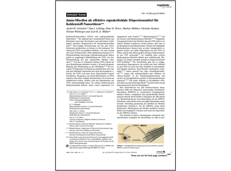 Janus-Micellen als effektive suprakolloidale Dispersionsmittel für Kohlenstoff-Nanoröhren